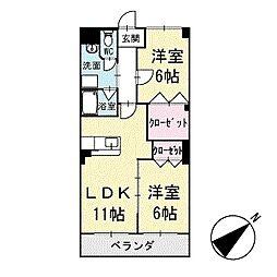 ルピナス矢作 2階[203号室]の間取り