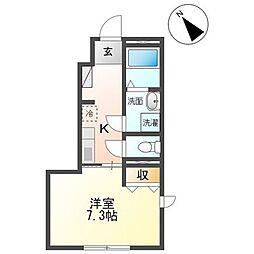 JR仙山線 東北福祉大前駅 徒歩8分の賃貸アパート 1階1Kの間取り