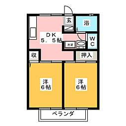 コーポラスYOU C棟[1階]の間取り