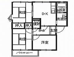 兵庫県姫路市青山西1丁目の賃貸アパートの間取り