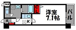 JR鹿児島本線 福工大前駅 徒歩1分の賃貸マンション 7階1Kの間取り