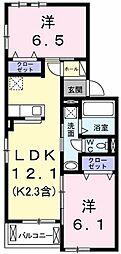 東京都青梅市河辺町1丁目の賃貸アパートの間取り
