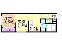 フォレスタ円山 1階1LDKの間取り