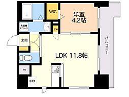 レスポワール 9階1LDKの間取り
