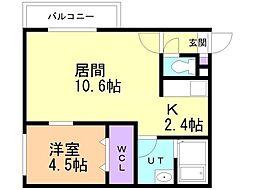 仮)美園12-7MS 1階1LDKの間取り
