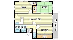 コーポエム・エヌ・中島[202号室]の間取り