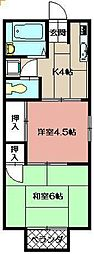 ハイユニメント第2耕心[201号室]の間取り