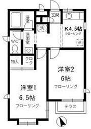 東京都三鷹市新川1丁目の賃貸アパートの間取り