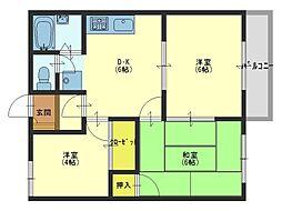 ラフィート東岸和田[2階]の間取り