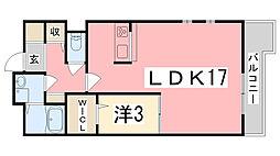 兵庫県加古川市尾上町安田の賃貸マンションの間取り