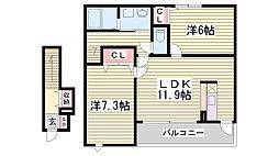 エムズハウス 2階2LDKの間取り