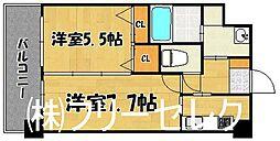 福岡県福岡市博多区榎田1丁目の賃貸マンションの間取り