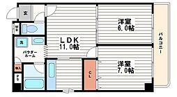 サンライズ南船場[10階]の間取り