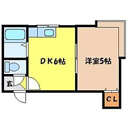 北海道札幌市中央区北十七条西15丁目の賃貸アパートの間取り