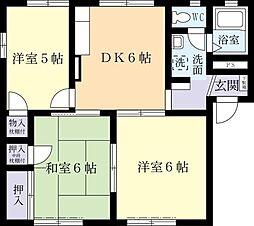 ウエストアべニュー 1階3DKの間取り
