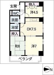 センターヒル橘[4階]の間取り
