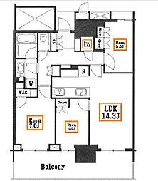 ベイズタワーアンドガーデン[20階]の間取り