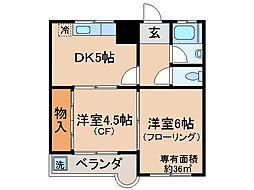 京都府京都市山科区西野野色町の賃貸マンションの間取り