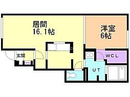 タカトモドリーム北広島 1階1LDKの間取り