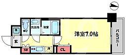 ファーストフィオーレ新梅田 9階1Kの間取り