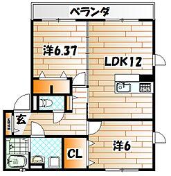 プレミールASOI A棟[102号室]の間取り
