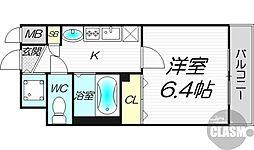 プレサンス新大阪クレスタ 6階1Kの間取り