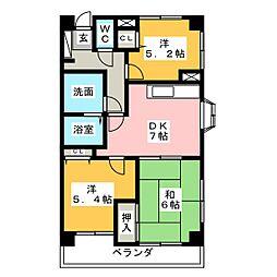 マンション城土[6階]の間取り