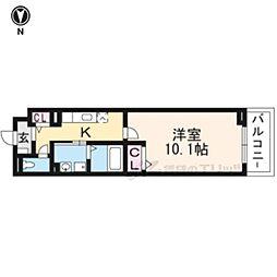京都市営烏丸線 十条駅 徒歩6分の賃貸マンション 2階1Kの間取り