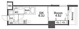 ルフォンプログレ本町WEST 4階1DKの間取り