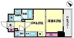 S-RESIDENCE阿波座WEST 11階1DKの間取り