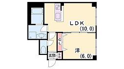 モナハイツ筒井[101号室]の間取り