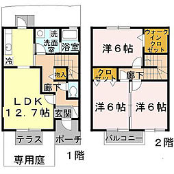 [テラスハウス] 大阪府堺市中区福田 の賃貸【/】の間取り