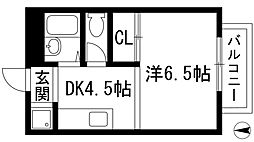 兵庫県西宮市上大市2丁目の賃貸アパートの間取り