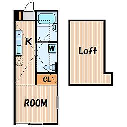 ハーミットクラブハウス西谷A[2階]の間取り