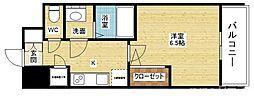 レジュールアッシュ塚本II 8階1Kの間取り