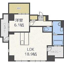 ザ・クロスメント 9階1LDKの間取り