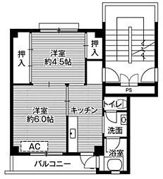 ビレッジハウス大阪鶴町1号棟4階Fの間取り画像