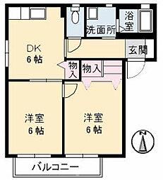 ファミーユ中野[A102号室]の間取り