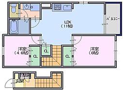 フォンテーヌN−2[2階]の間取り