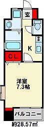 プレミアJONO 8階1Kの間取り