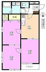 長野県安曇野市穂高の賃貸アパートの間取り