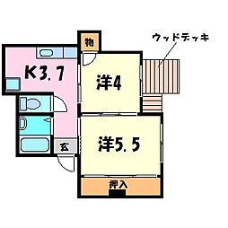 シャトー北野[1階]の間取り