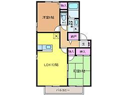 愛媛県松山市南梅本町の賃貸アパートの間取り
