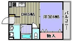 カーサフィオーレ2 2階1DKの間取り
