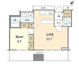 都営新宿線 浜町駅 徒歩10分の賃貸マンション 36階1LDKの間取り