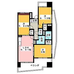 中央ハイツ海老塚[14階]の間取り