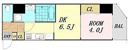 ファーストフィオーレ東梅田 7階1DKの間取り