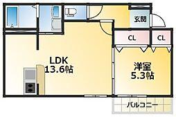 クレール・アゾン3 1階1LDKの間取り