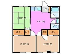 三重県津市久居二ノ町の賃貸アパートの間取り