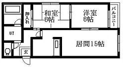 北海道札幌市清田区真栄二条2丁目の賃貸マンションの間取り